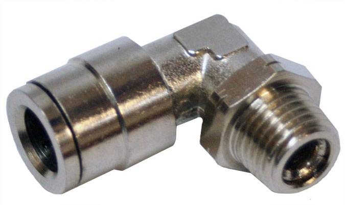 "Envirosafe Swivel 3/8"" Tube x 1/4"" MPL Push in Pneumatic Fitting  #6080 Photo - Click to Enlarge"