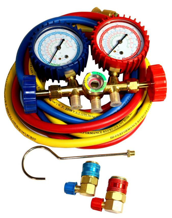 Envirosafe Brass Manifold Gauge Set w/ Couplers & Sight #800 Photo - Click to Enlarge