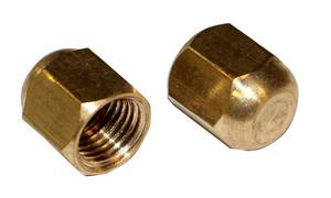 "R12 R22 R502 Brass 1/4"" Service Port Caps Hex Head 2 Pack #3406 - Click to Purchase"