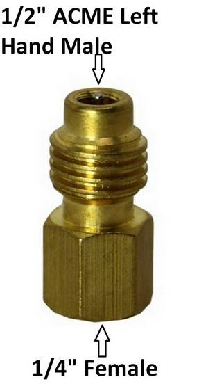 "R1234 Fitting Left Handed 1/2"" ACME Male to 1/4"" Female (134) #3105 - Click to Purchase"